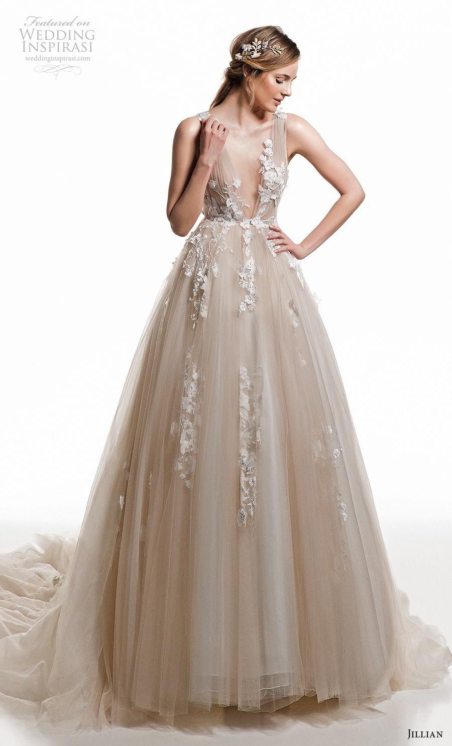 jillian 2019 bridal sleeveless deep v neck heavily embellished bodice romantic champagne a  line wedding dress sheer button back chapel train (12) mv