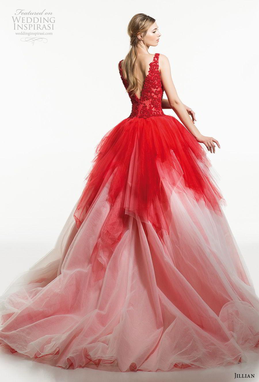 jillian 2019 bridal sleeveless deep v neck heavily embellished bodice tiered skirt red ball gown wedding dress v back chapel train (21) bv