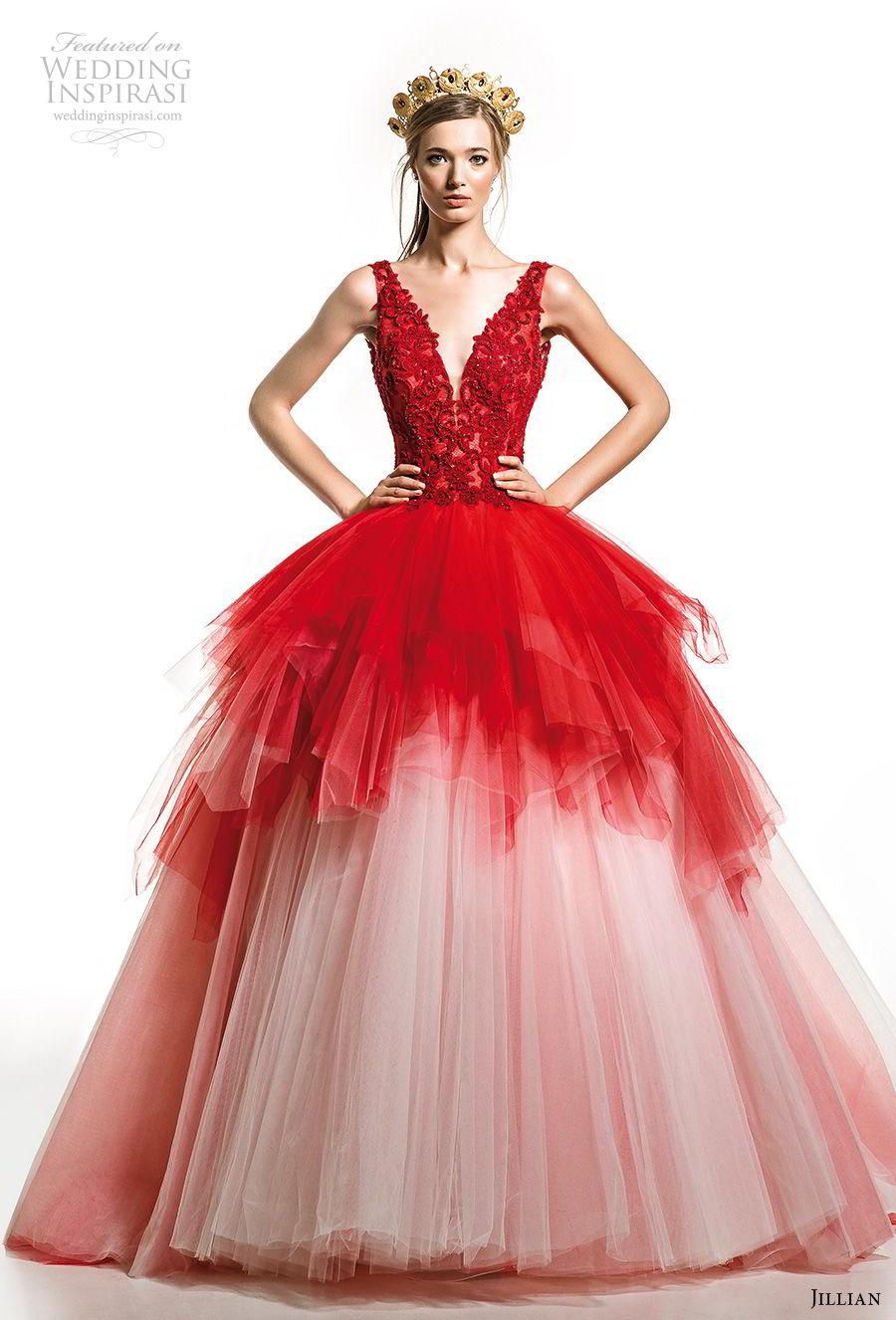 jillian 2019 bridal sleeveless deep v neck heavily embellished bodice tiered skirt red ball gown wedding dress v back chapel train (21) mv
