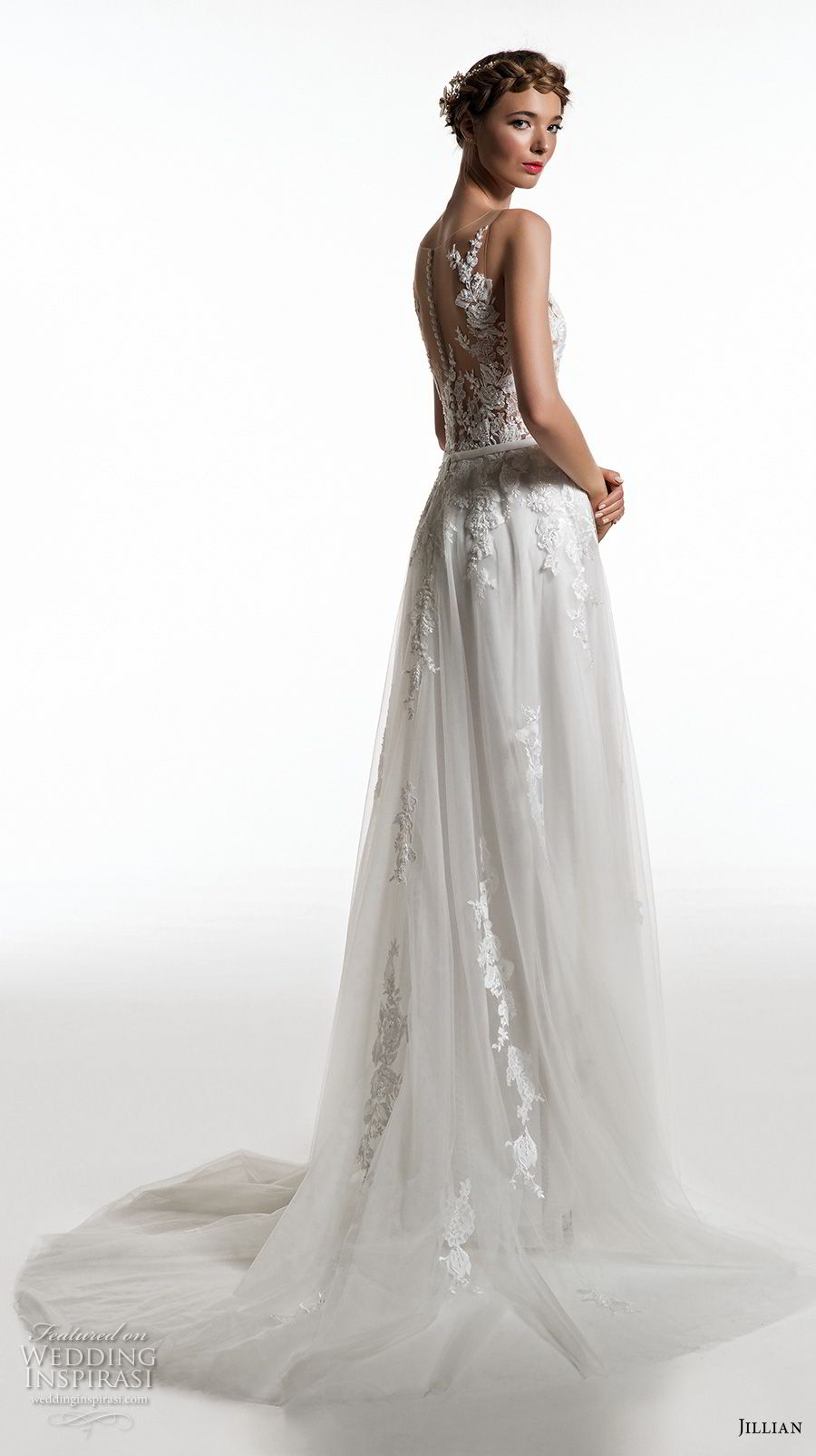 jillian 2019 bridal sleeveless illusion bateau v neck heavily embellished bodice romantic soft a  line wedding dress sheer button back short train (7) bv