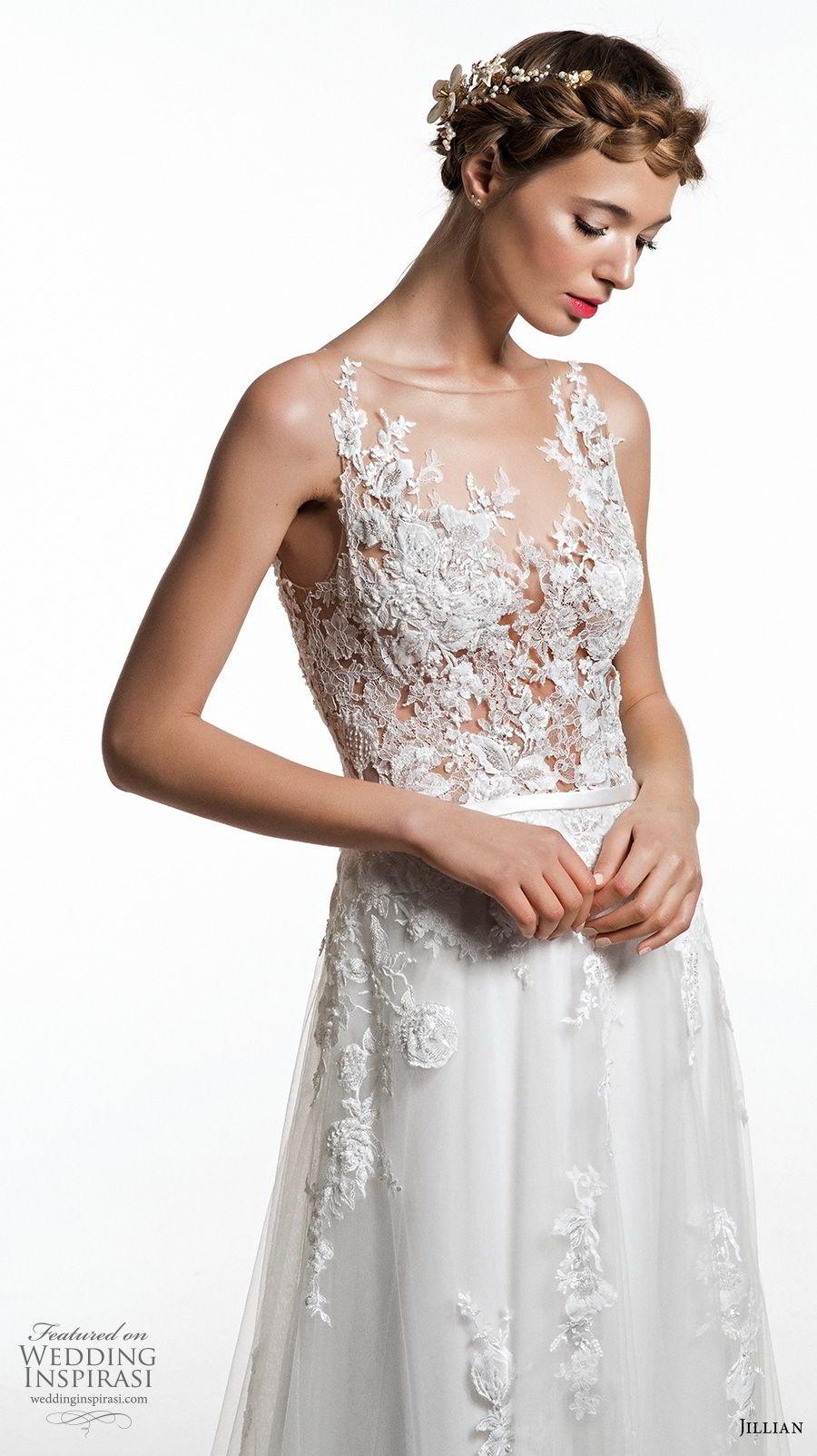 jillian 2019 bridal sleeveless illusion bateau v neck heavily embellished bodice romantic soft a  line wedding dress sheer button back short train (7) zv