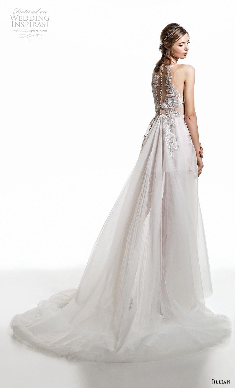 jillian 2019 bridal sleeveless jewel neckline heavily embellished bodice tulle skirt soft a  line wedding dress sheer button back chapel train (9) bv