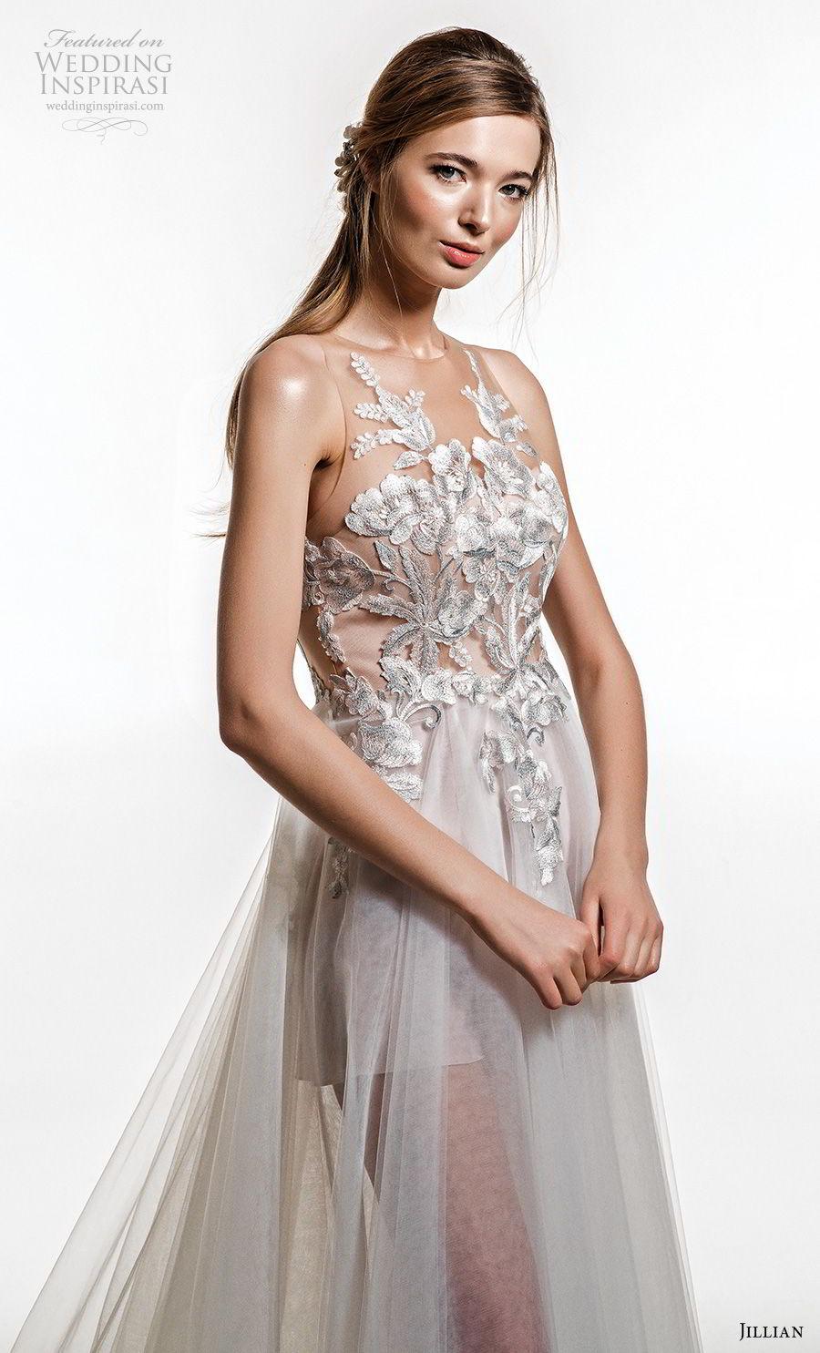 jillian 2019 bridal sleeveless jewel neckline heavily embellished bodice tulle skirt soft a  line wedding dress sheer button back chapel train (9) zv