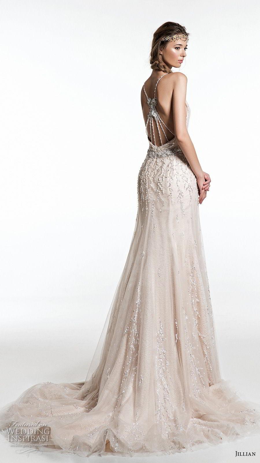 jillian 2019 bridal sleeveless with strap deep v neck full embellishment elegant glitzy champagne modified a  line wedding dress razor back medium train (14) bv