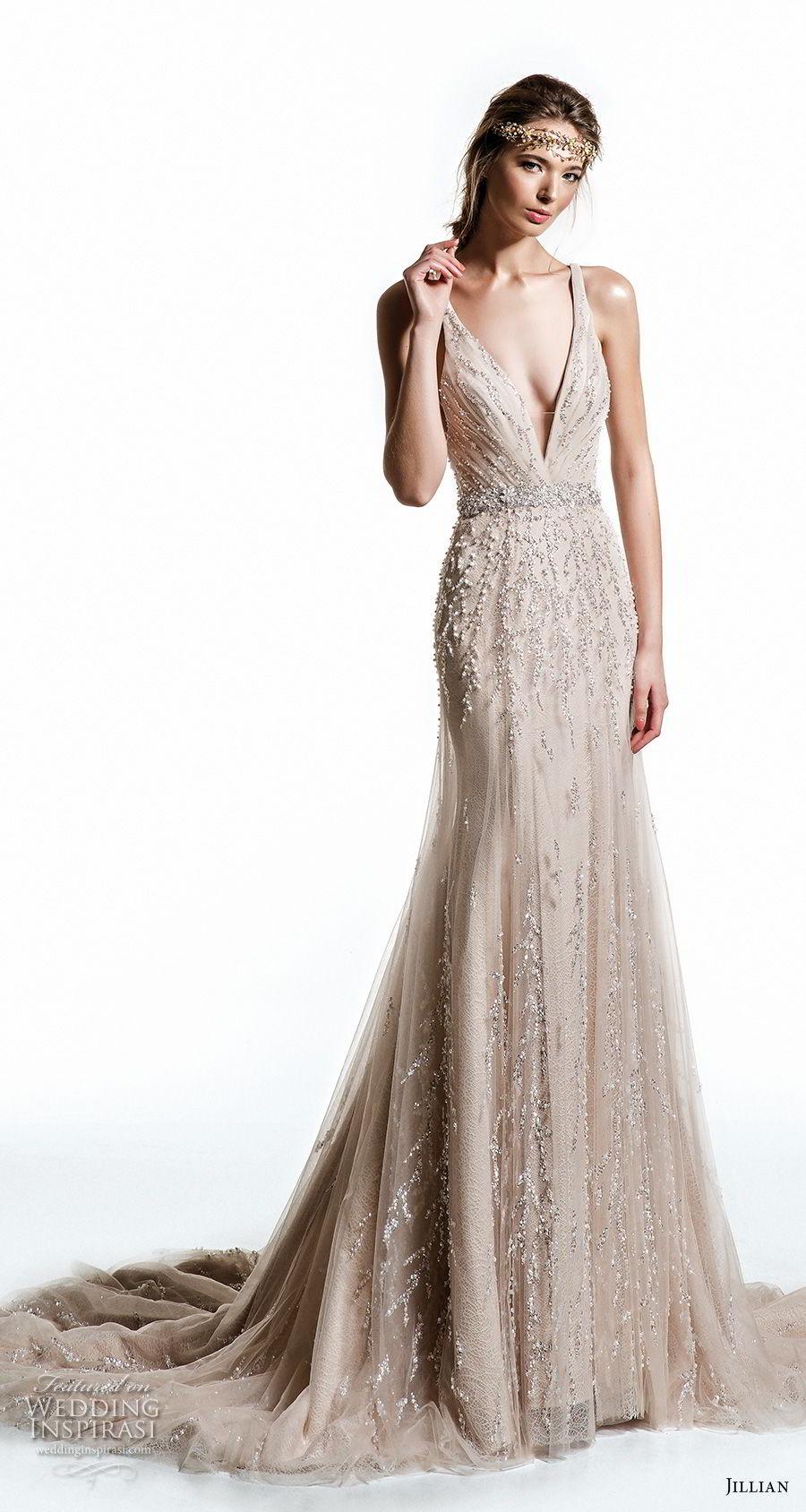 jillian 2019 bridal sleeveless with strap deep v neck full embellishment elegant glitzy champagne modified a  line wedding dress razor back medium train (14) mv