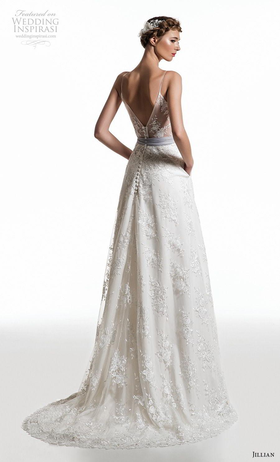 jillian 2019 bridal spaghetti strap diamond neckline full embellishment romantic a  line wedding dress v back sweep train (11) bv