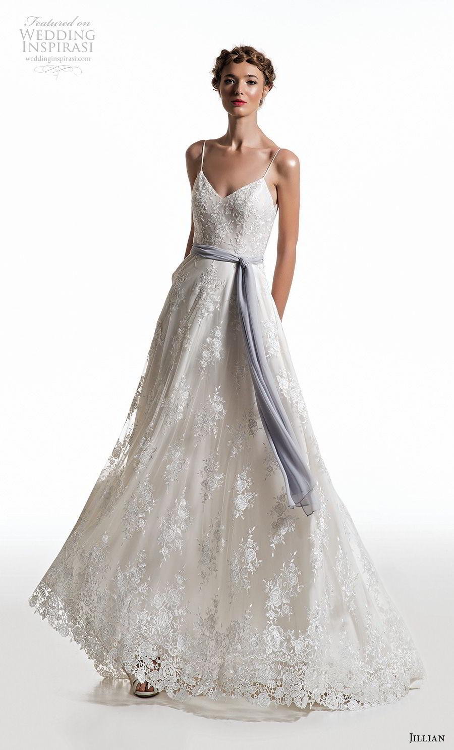 jillian 2019 bridal spaghetti strap diamond neckline full embellishment romantic a  line wedding dress v back sweep train (11) mv