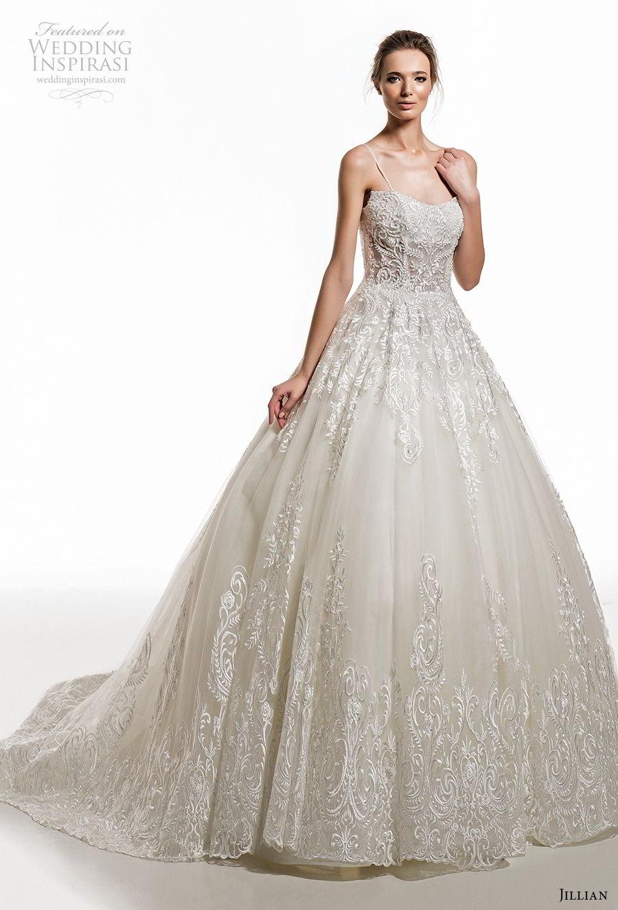 jillian 2019 bridal spaghetti strap semi sweetheart neckline full embellishment princess ball gown a  line wedding dress chapel train (15) mv