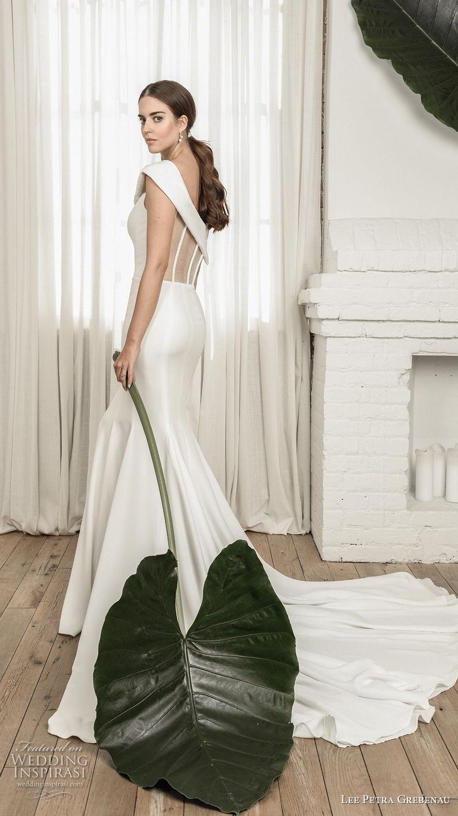 lee petra grebenau pre 2019 bridal asymmetrical neckline simple clean elegant fit and flare wedding dress chapel train (5) mv bv
