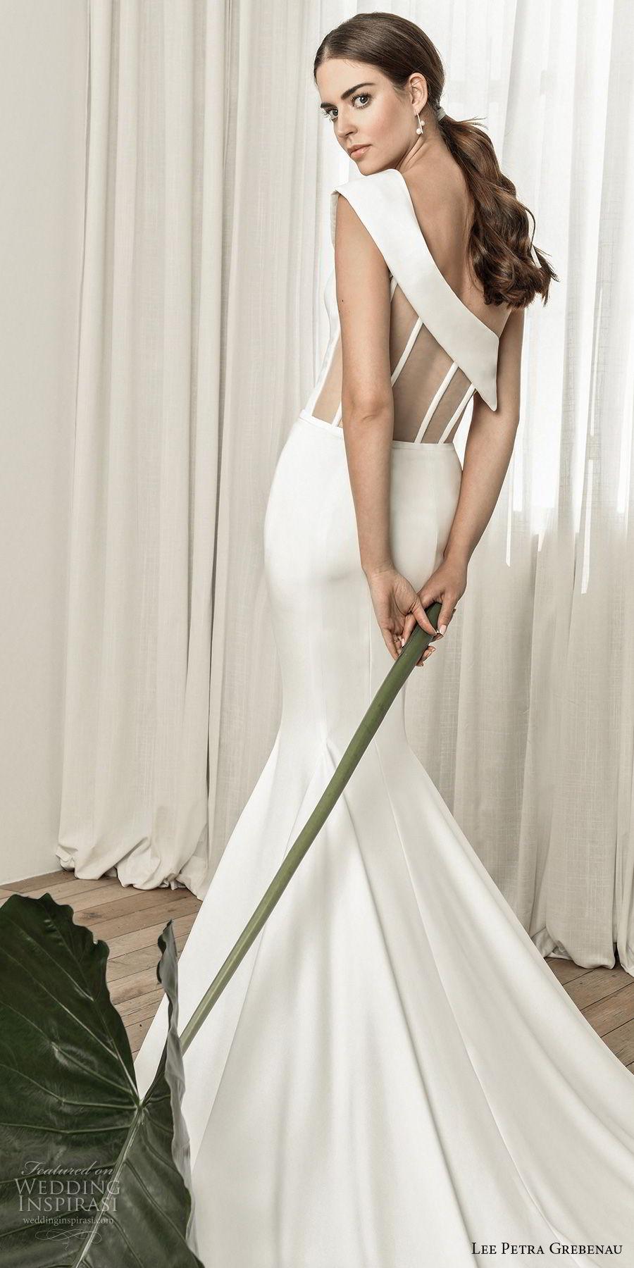 lee petra grebenau pre 2019 bridal asymmetrical neckline simple clean elegant fit and flare wedding dress chapel train (5) zbv