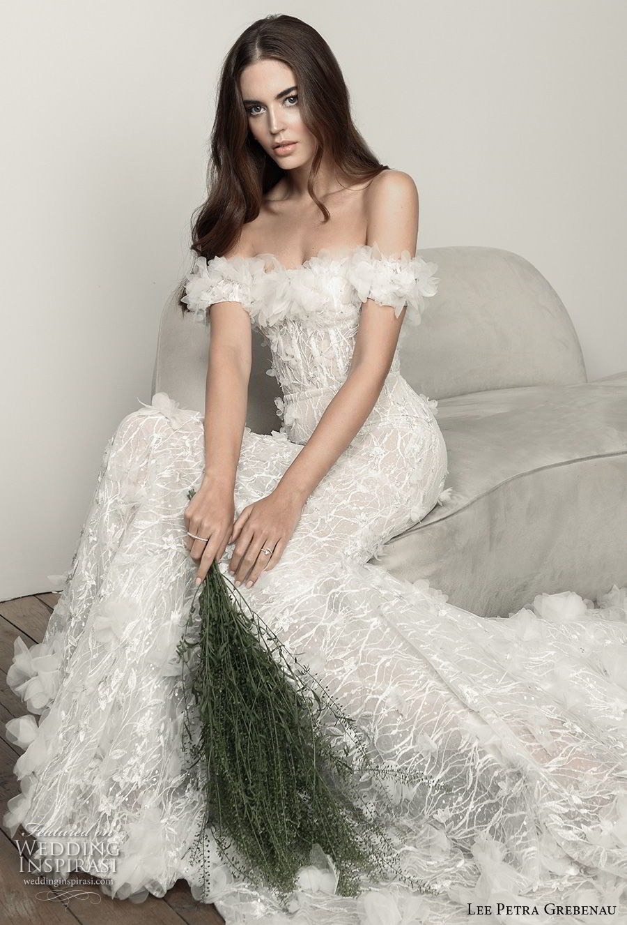 lee petra grebenau pre 2019 bridal off the shoulder straight across neckline full embellishment romantic a  line wedding dress chapel train (1) zv