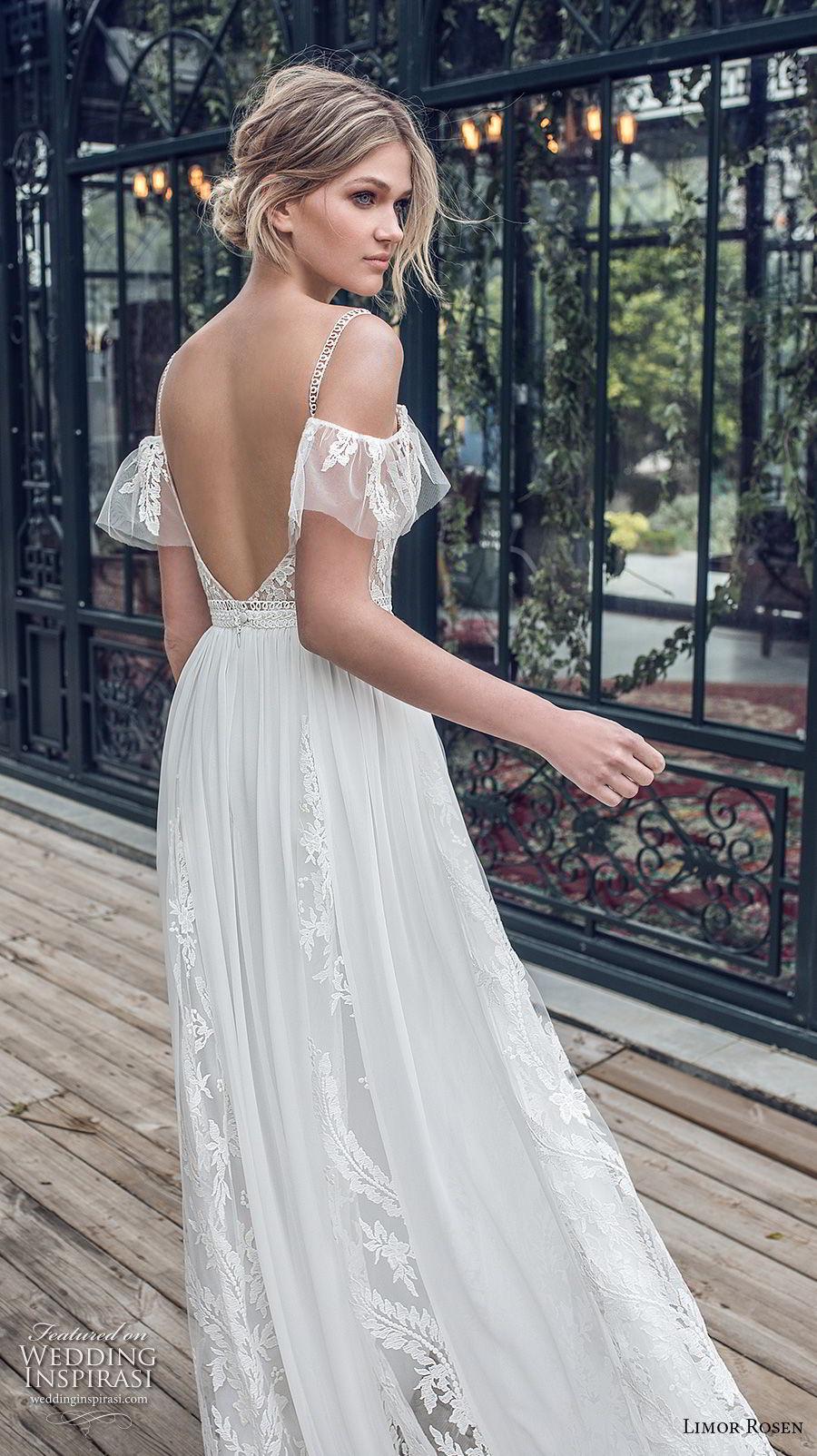 limor rosen 2019 xo bridal cold shoulder thin strap deep sweetheart neckline heavily embellished bodice romantic soft a  line wedding dress open back (8) bv