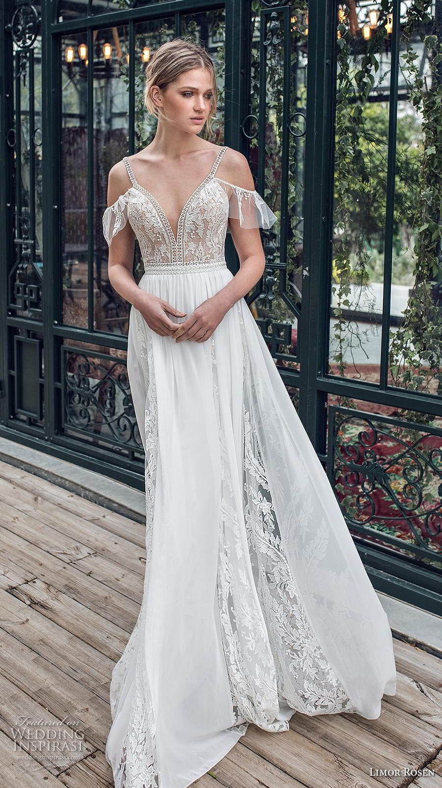 limor rosen 2019 xo bridal cold shoulder thin strap deep sweetheart neckline heavily embellished bodice romantic soft a  line wedding dress open back (8) mv