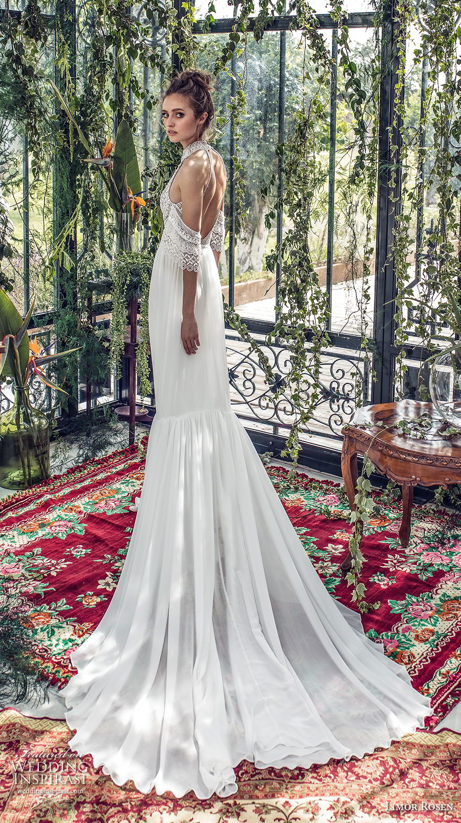 limor rosen 2019 xo bridal cold soulder halter jewel neck heavily embellished bodice romantic soft a  line wedding dress open back medium train (10) bv