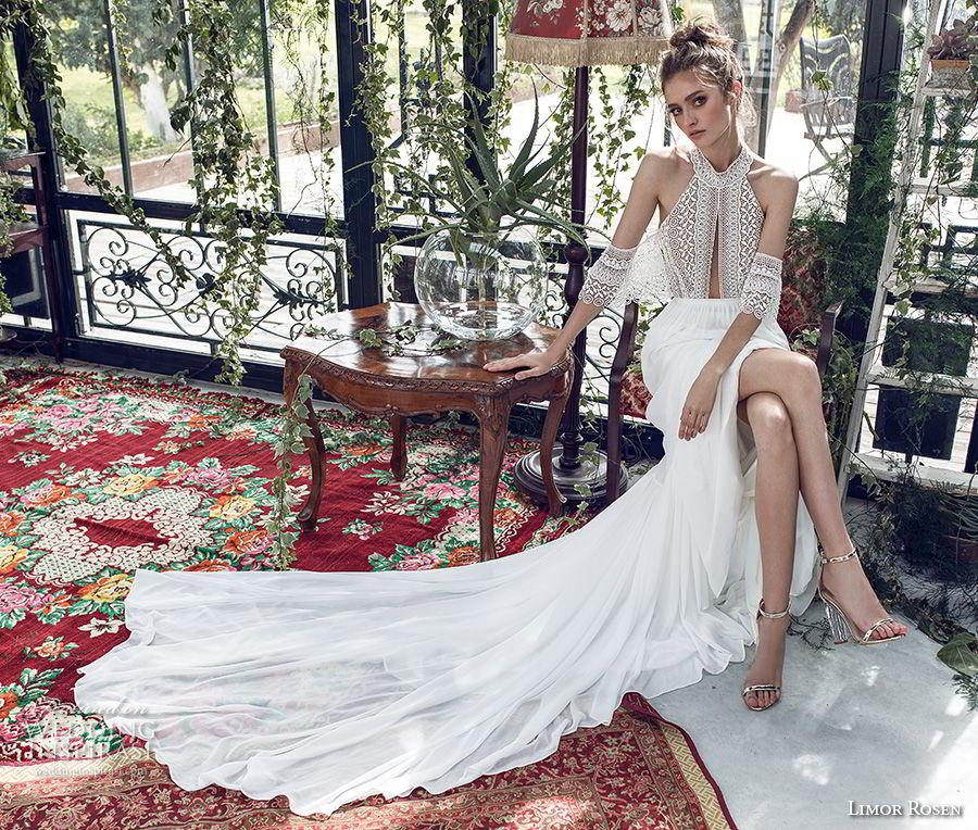 limor rosen 2019 xo bridal cold soulder halter jewel neck heavily embellished bodice romantic soft a  line wedding dress open back medium train (10) mv