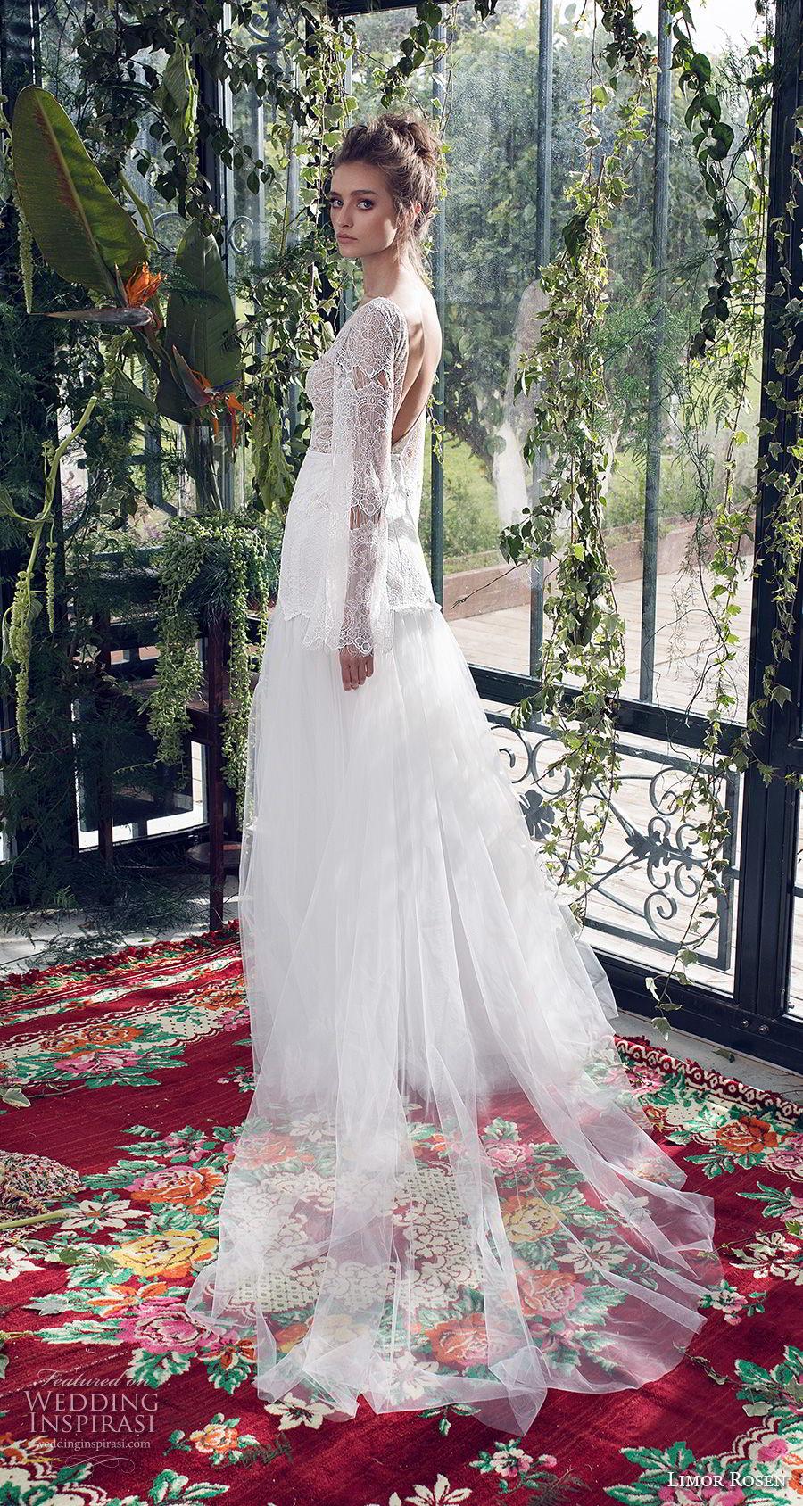 limor rosen 2019 xo bridal long bell sleeves v neck heavily embellished bodice tulle skirt romantic bohemian a  line wedding dress low open back chapel train (1) bv