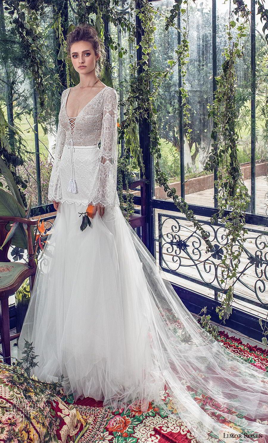 limor rosen 2019 xo bridal long bell sleeves v neck heavily embellished bodice tulle skirt romantic bohemian a  line wedding dress low open back chapel train (1) mv