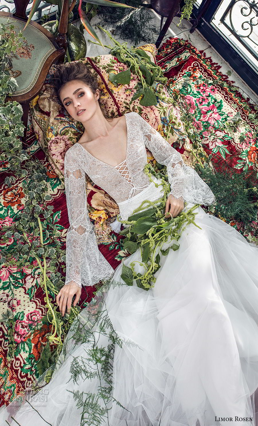 dd195cde6fa limor rosen 2019 xo bridal long bell sleeves v neck heavily embellished  bodice tulle skirt romantic