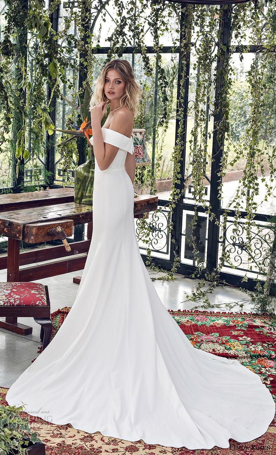 limor rosen 2019 xo bridal off the shoulder semi scoop neckline simple clean minimalist elegant fit and flare wedding dress chapel train (3) sdv