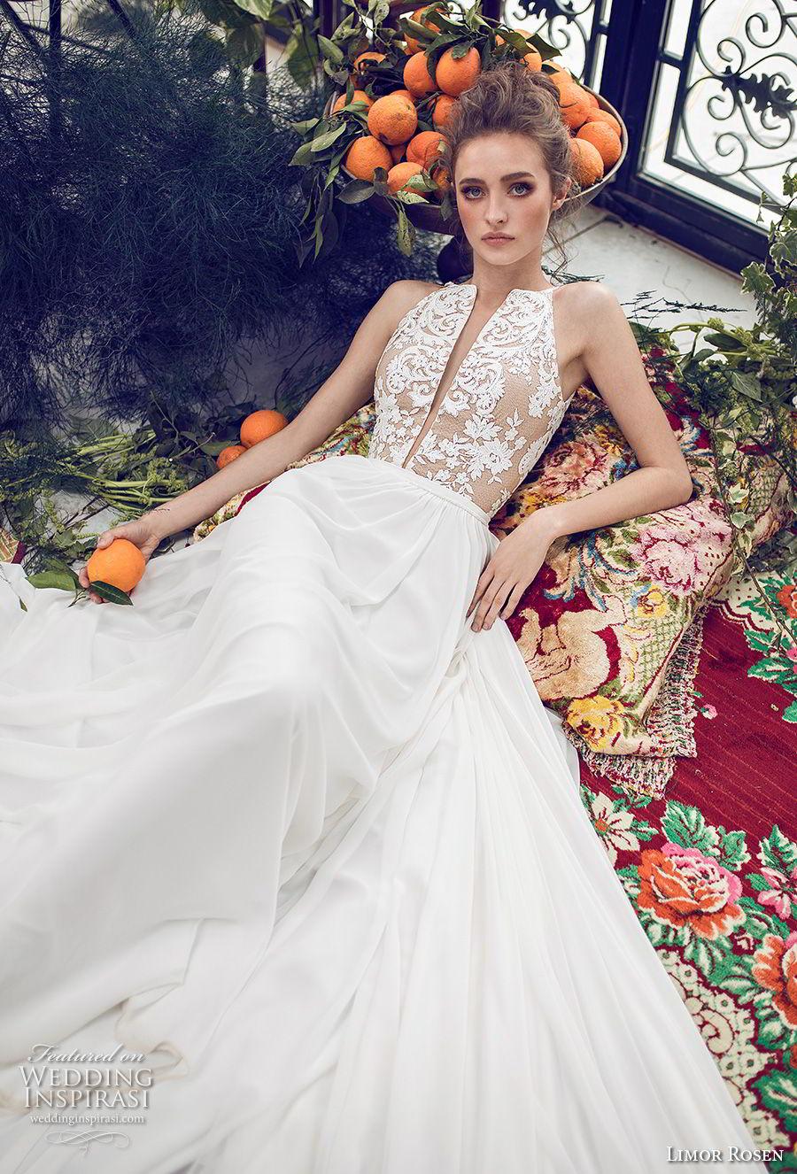 limor rosen 2019 xo bridal sleeveless halter neck deep plunging v neck heavily embellished romantic bodice a  line wedding dress (7) mv
