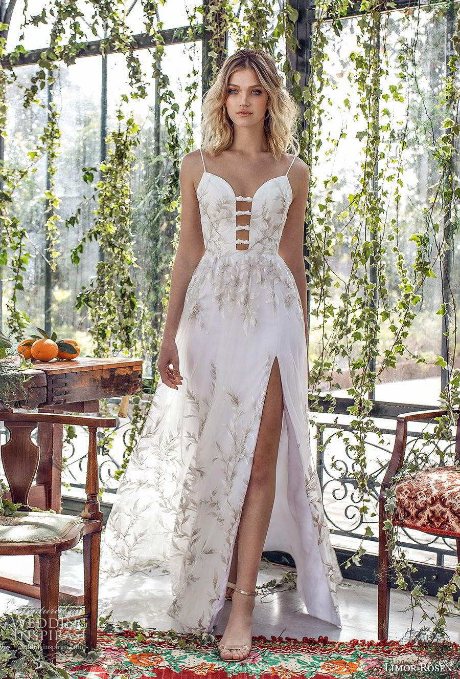 limor rosen 2019 xo bridal sleeveless spaghetti strap deep plunging sweetheart neckline full embellishement slit skirt romantic a  line wedding dress open back (12) mv