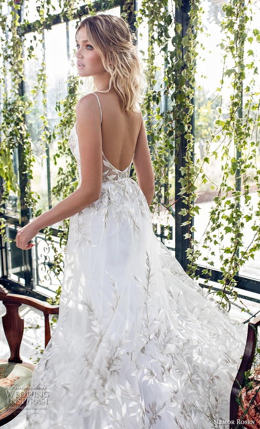limor rosen 2019 xo bridal sleeveless spaghetti strap deep plunging sweetheart neckline full embellishement slit skirt romantic a  line wedding dress open back (12) zbv