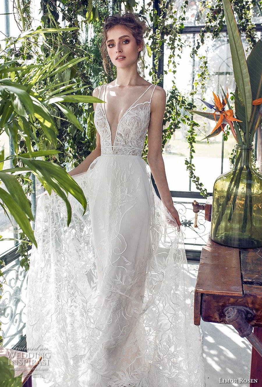 limor rosen 2019 xo bridal sleeveless with strap deep v neck full embellishment romantic soft a  line wedding dress open back chapel train (4) mv