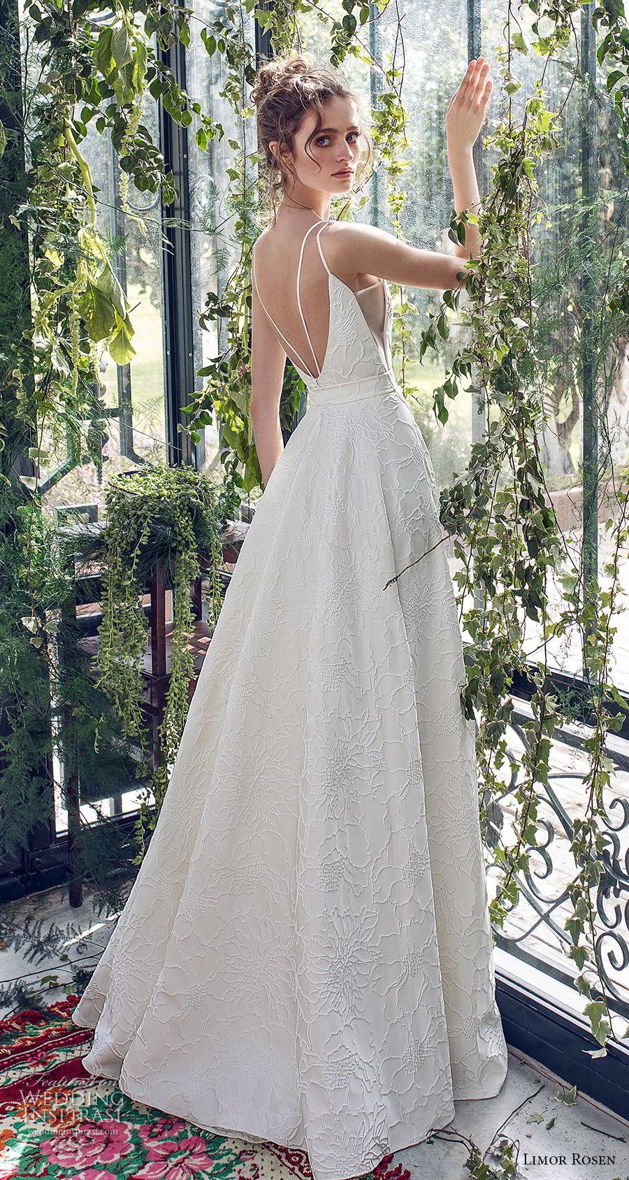 limor rosen 2019 xo bridal sleeveless with strap deep v neck light embellishment romantic a  line wedding dress open back sweep train (2) bv