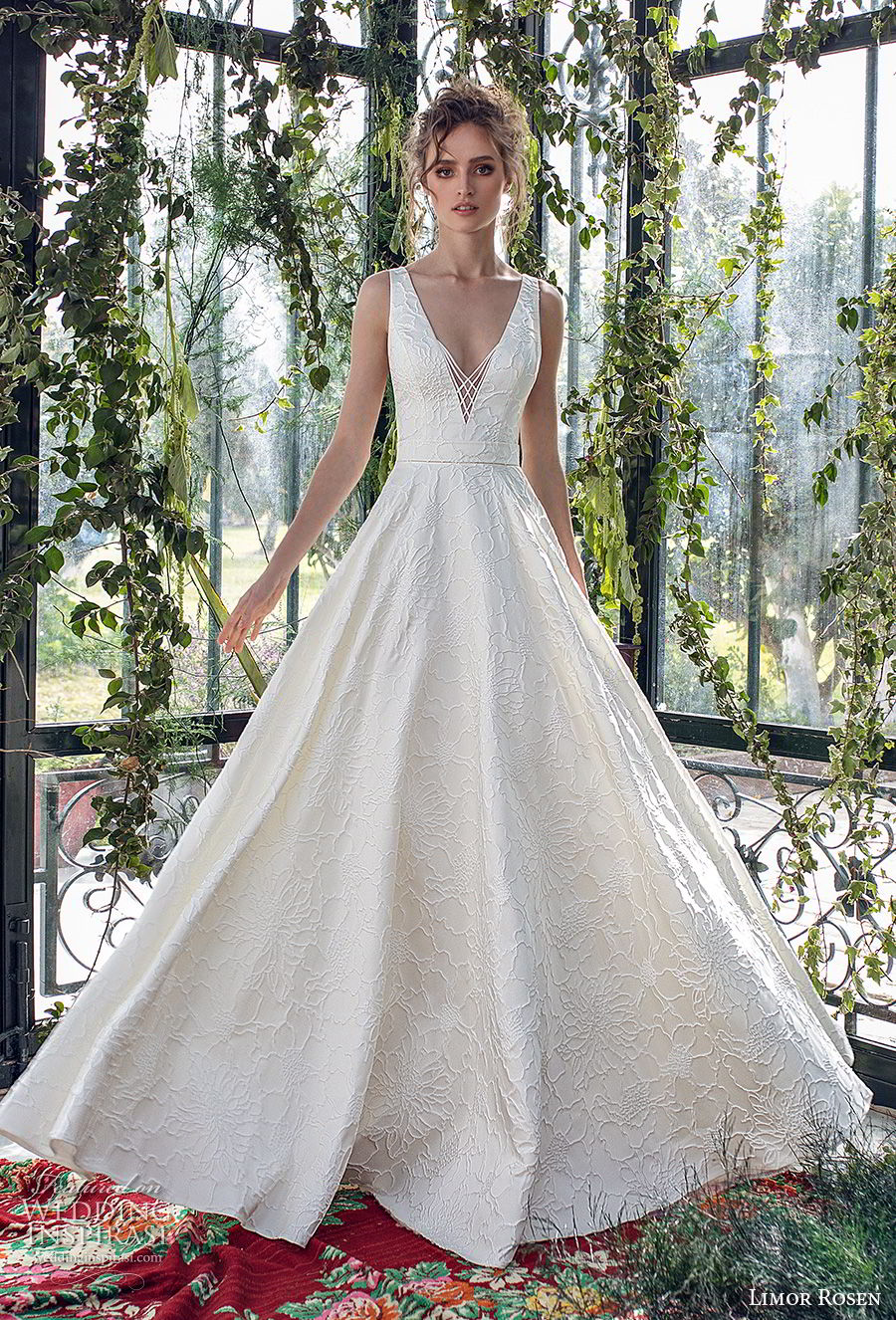 limor rosen 2019 xo bridal sleeveless with strap deep v neck light embellishment romantic a  line wedding dress open back sweep train (2) mv