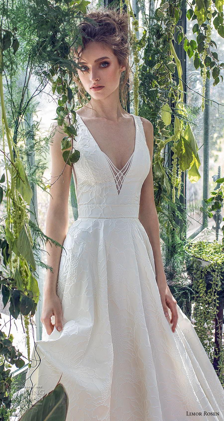limor rosen 2019 xo bridal sleeveless with strap deep v neck light embellishment romantic a  line wedding dress open back sweep train (2) zv