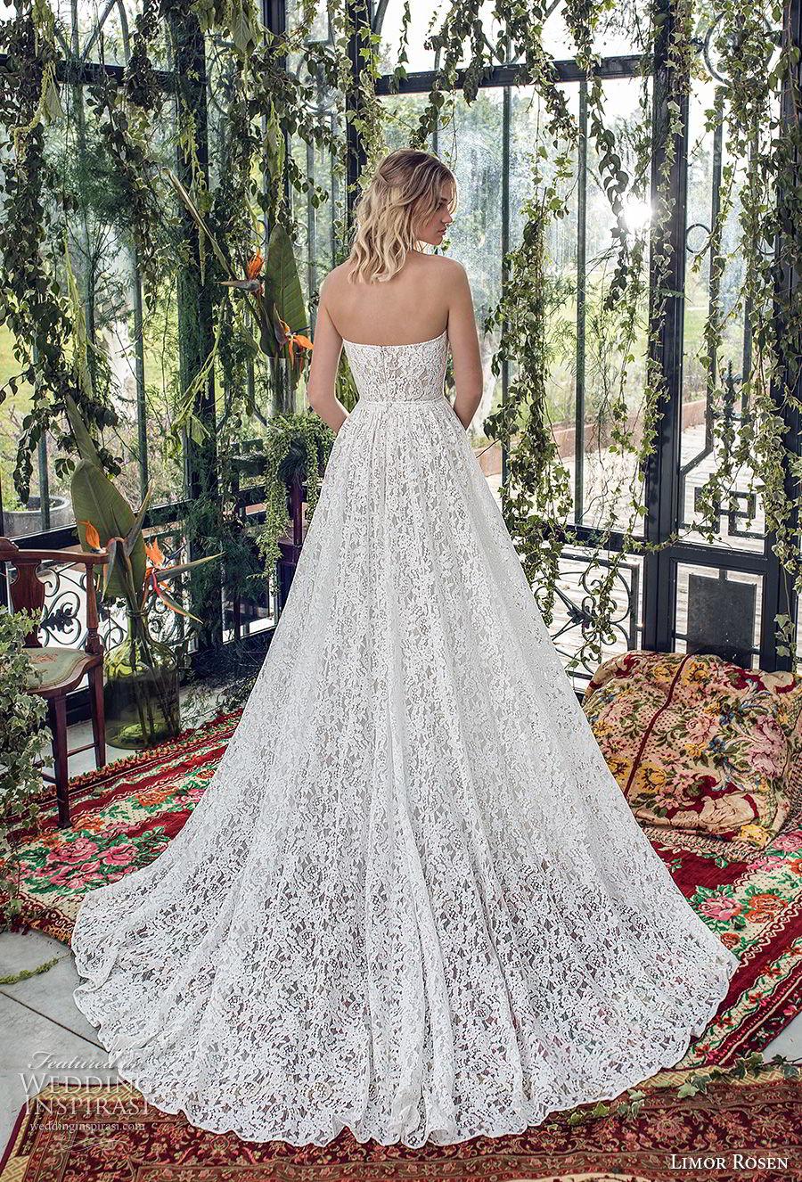 limor rosen 2019 xo bridal strapless deep plunging sweetheart neckine full embellishment romantic a  line wedding dress with pockets chapel train (6) bv