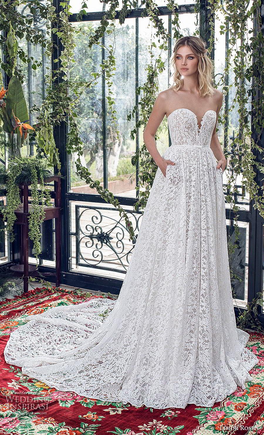 limor rosen 2019 xo bridal strapless deep plunging sweetheart neckine full embellishment romantic a  line wedding dress with pockets chapel train (6) mv