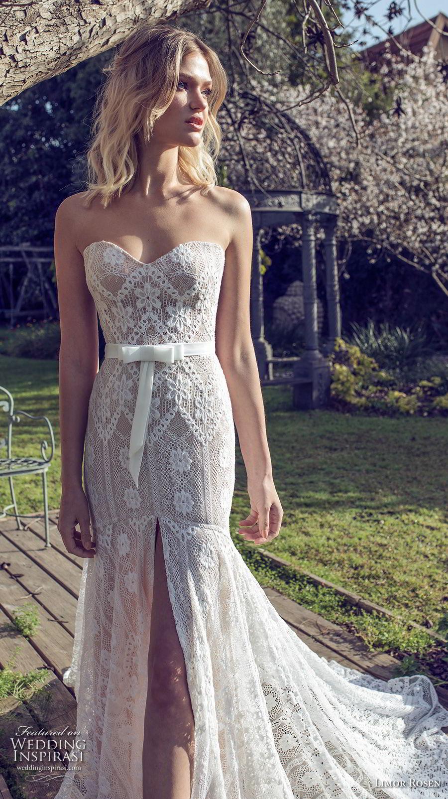 limor rosen 2019 xo bridal strapless sweetheart neckline full embellishment slit skirt romantic trumpet wedding dress chapel train (13) mv