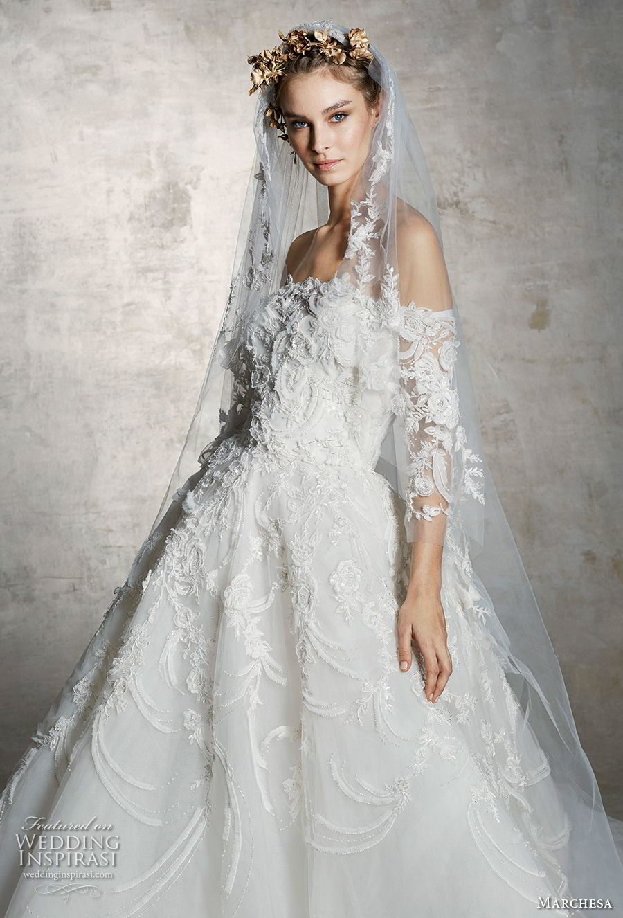 marchesa spring 2019 bridal off the shoulder three quarter sleeves straight across neckline heavily embellished bodice princess a  line wedding dress (3) mv