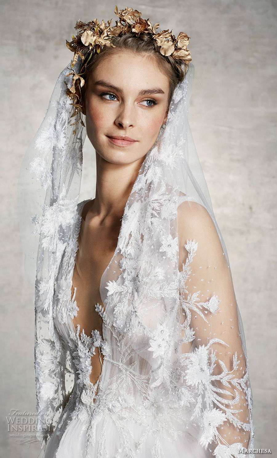 marchesa spring 2019 bridal sleeveless deep plunging v neck heavily embellished bodice romantic a  line wedding dress (1) mv
