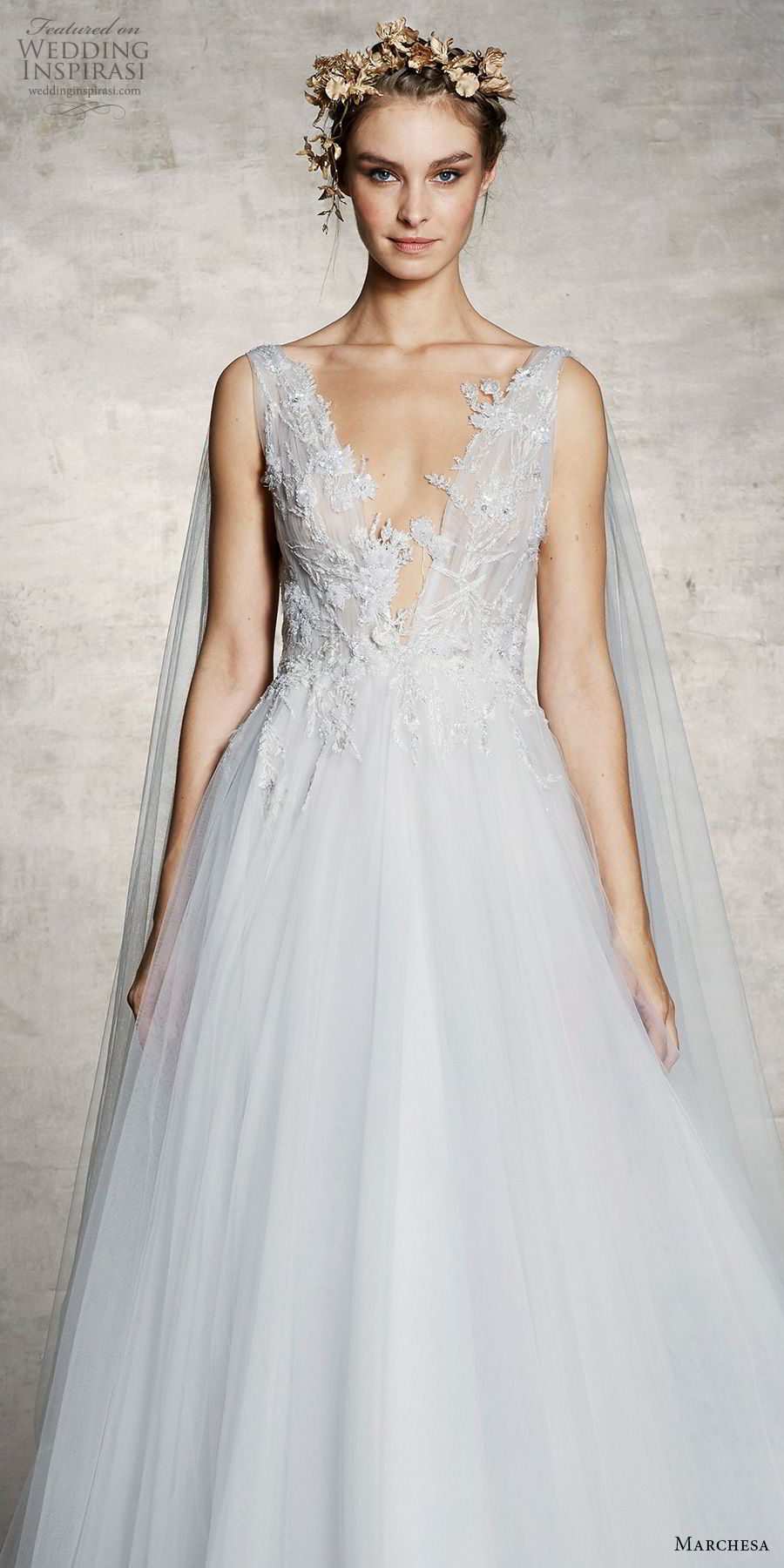 marchesa spring 2019 bridal sleeveless thick strap deep v neck heavily embellished bodice tulle skirt a  line wedding dress chapel train (7) zv