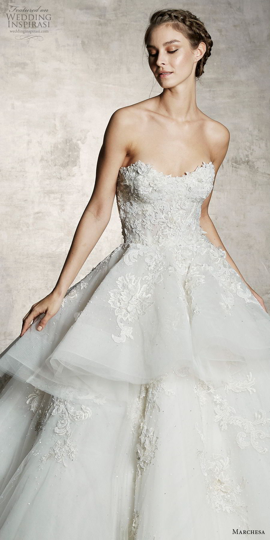 marchesa spring 2019 bridal strapless sweetheart neckline heavily embellished bodice tiered skirt romantic princess a  line ball gown wedding dress (6) zv