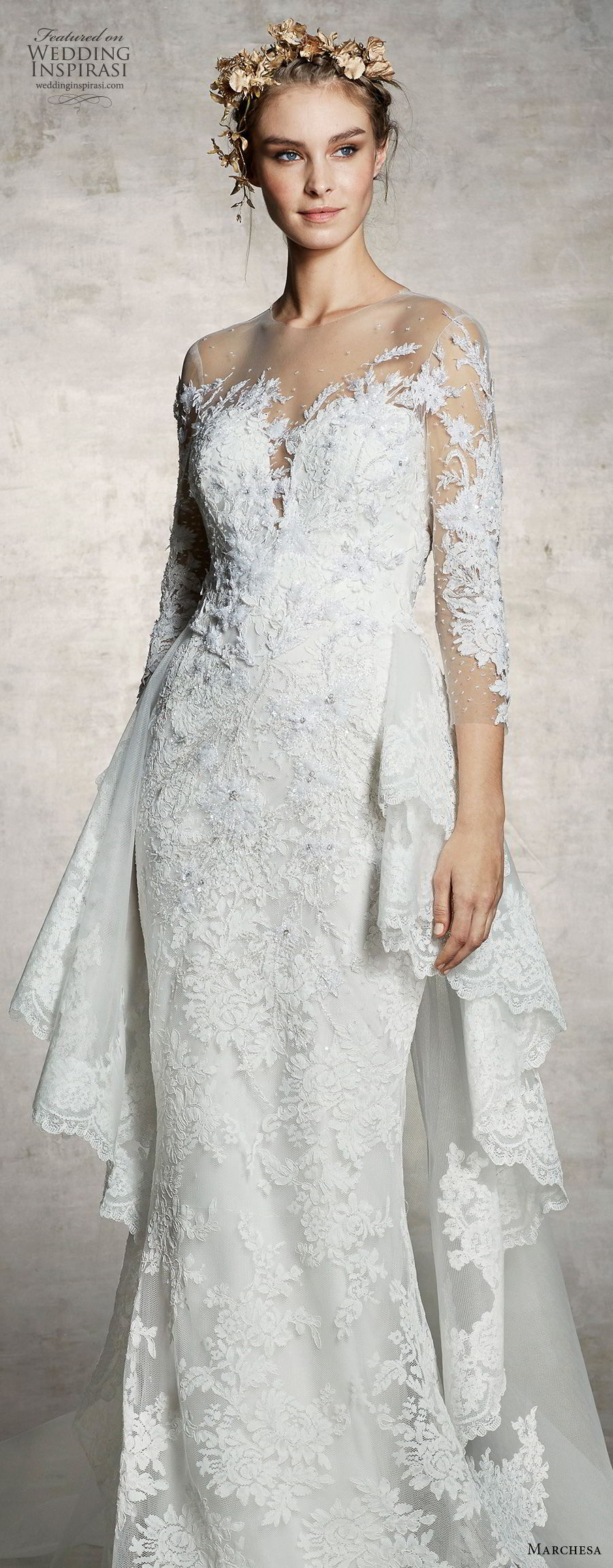 marchesa spring 2019 bridal three quarter sleeves illusion jewel sweetheart neckline full embellishment elegant sheath fit and flare wedding dress (8) lv