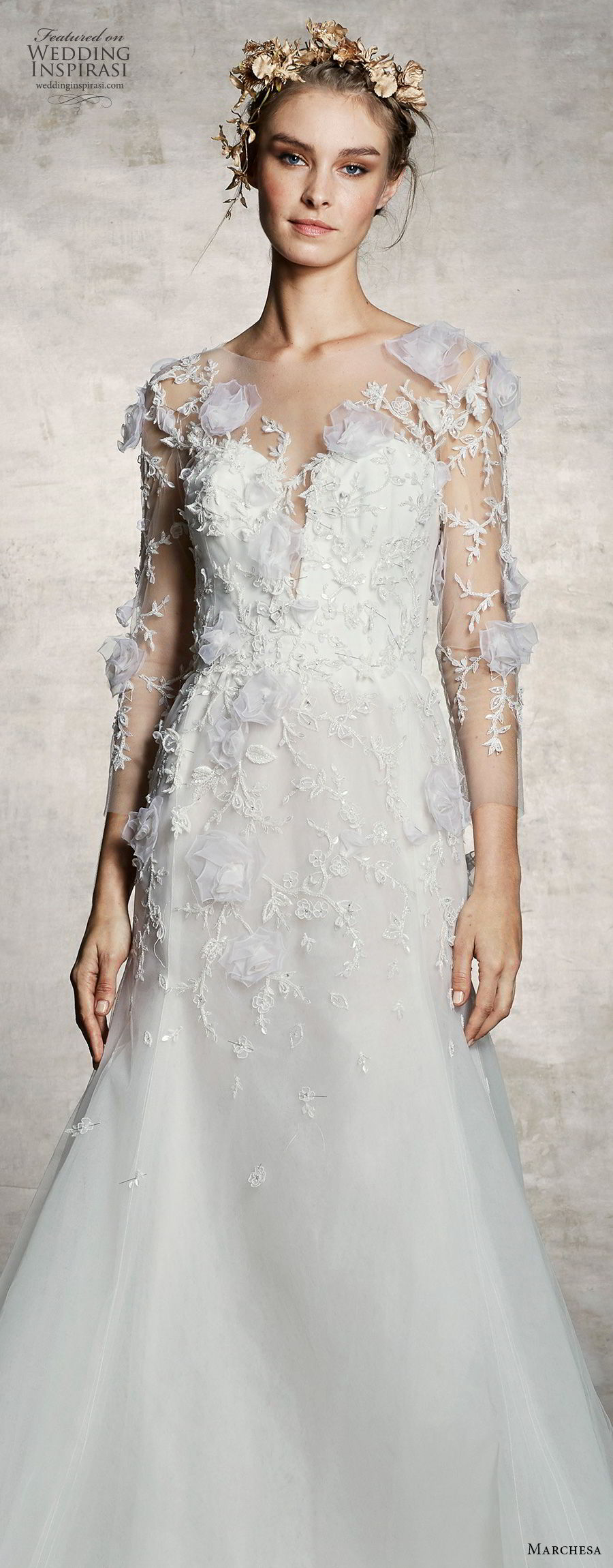 marchesa spring 2019 bridal three quarter sleeves plunging sweetheart neckline heavily embellished bodice romantic a  line wedding dress (9) lv