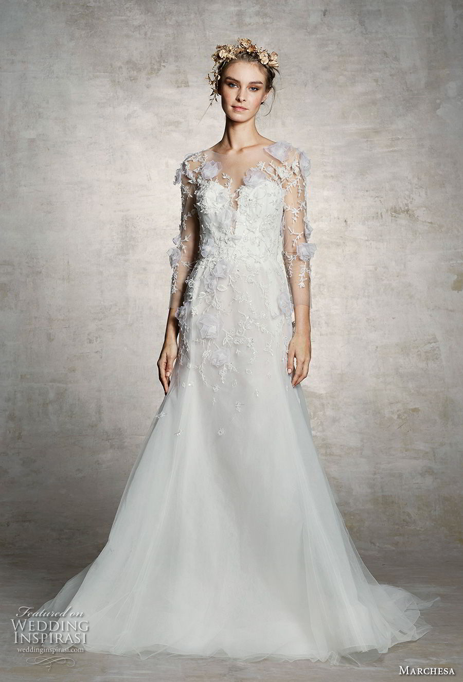 marchesa spring 2019 bridal three quarter sleeves plunging sweetheart neckline heavily embellished bodice romantic a  line wedding dress (9) mv
