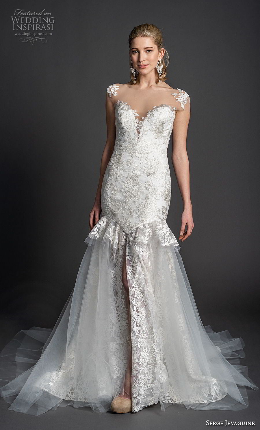 serge jevaguine 2019 bridal cap sleeves illusion bateau deep sweetheart neckline full embellishment elegant mermaid wedding dress open back chapel train (2) mv