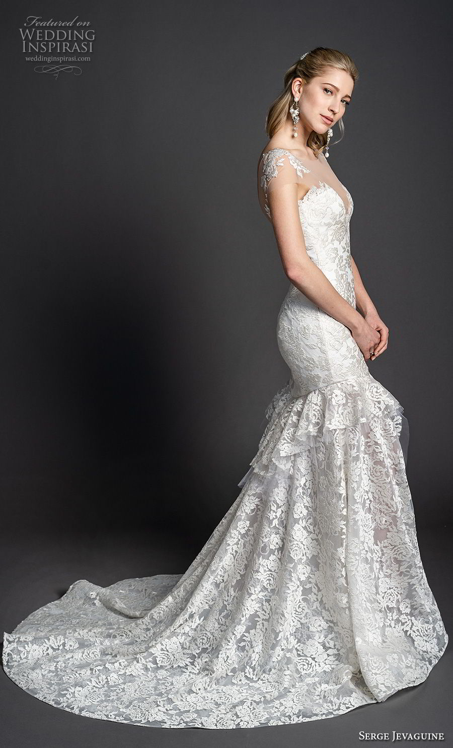 serge jevaguine 2019 bridal cap sleeves illusion bateau deep sweetheart neckline full embellishment elegant mermaid wedding dress open back chapel train (2) sdv