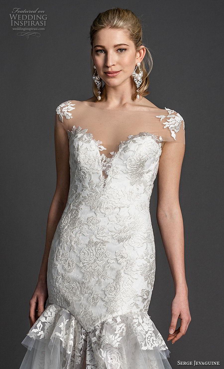 serge jevaguine 2019 bridal cap sleeves illusion bateau deep sweetheart neckline full embellishment elegant mermaid wedding dress open back chapel train (2) zv