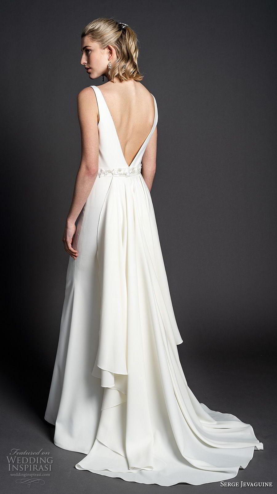 serge jevaguine 2019 bridal sleeveless deep v neck simple clean bodice minimalist elegant sheath wedding dress open v back short train (7) bv