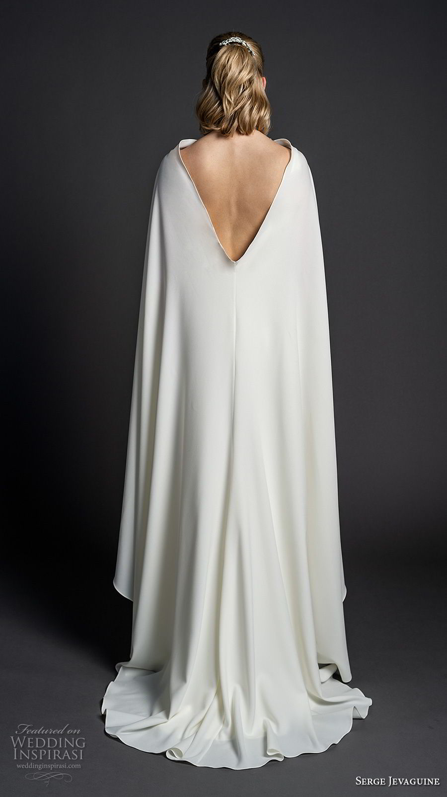 serge jevaguine 2019 bridal sleeveless deep v neck simple clean bodice minimalist elegant sheath wedding dress with cape open v back short train (7) bv