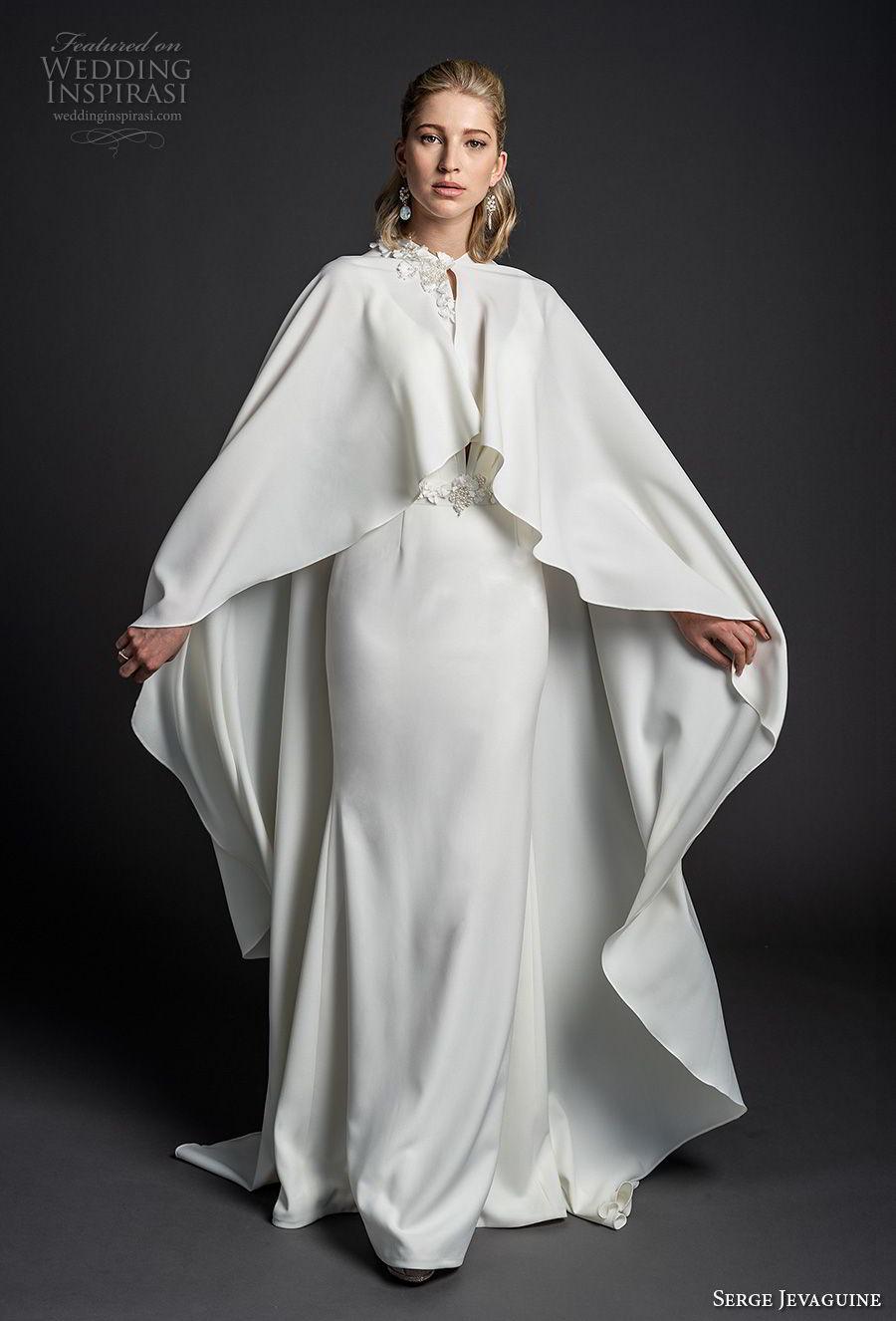 serge jevaguine 2019 bridal sleeveless deep v neck simple clean bodice minimalist elegant sheath wedding dress with cape open v back short train (7) mv