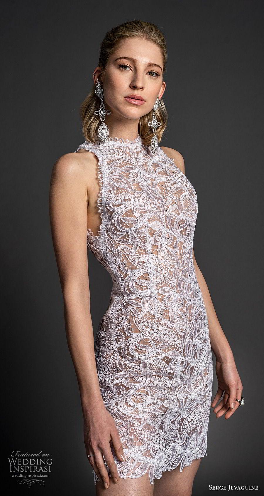serge jevaguine 2019 bridal sleeveless halter neck heavily embellished bodice romantic mini dress short wedding dress (5) mv