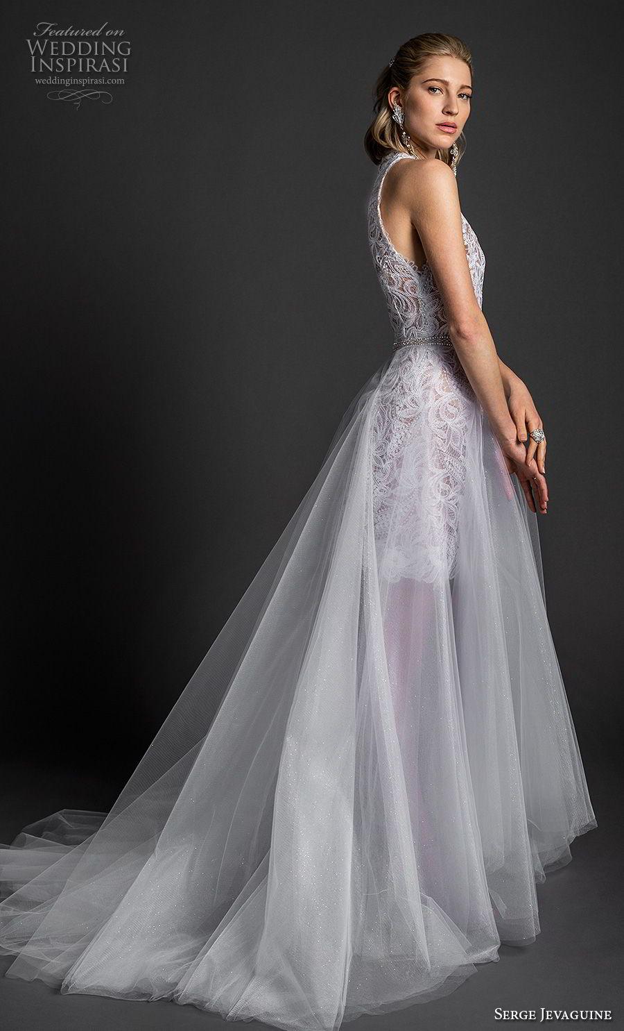 serge jevaguine 2019 bridal sleeveless halter neck heavily embellished bodice tulle skirt romantic a  line wedding dress chapel train (5) sdv