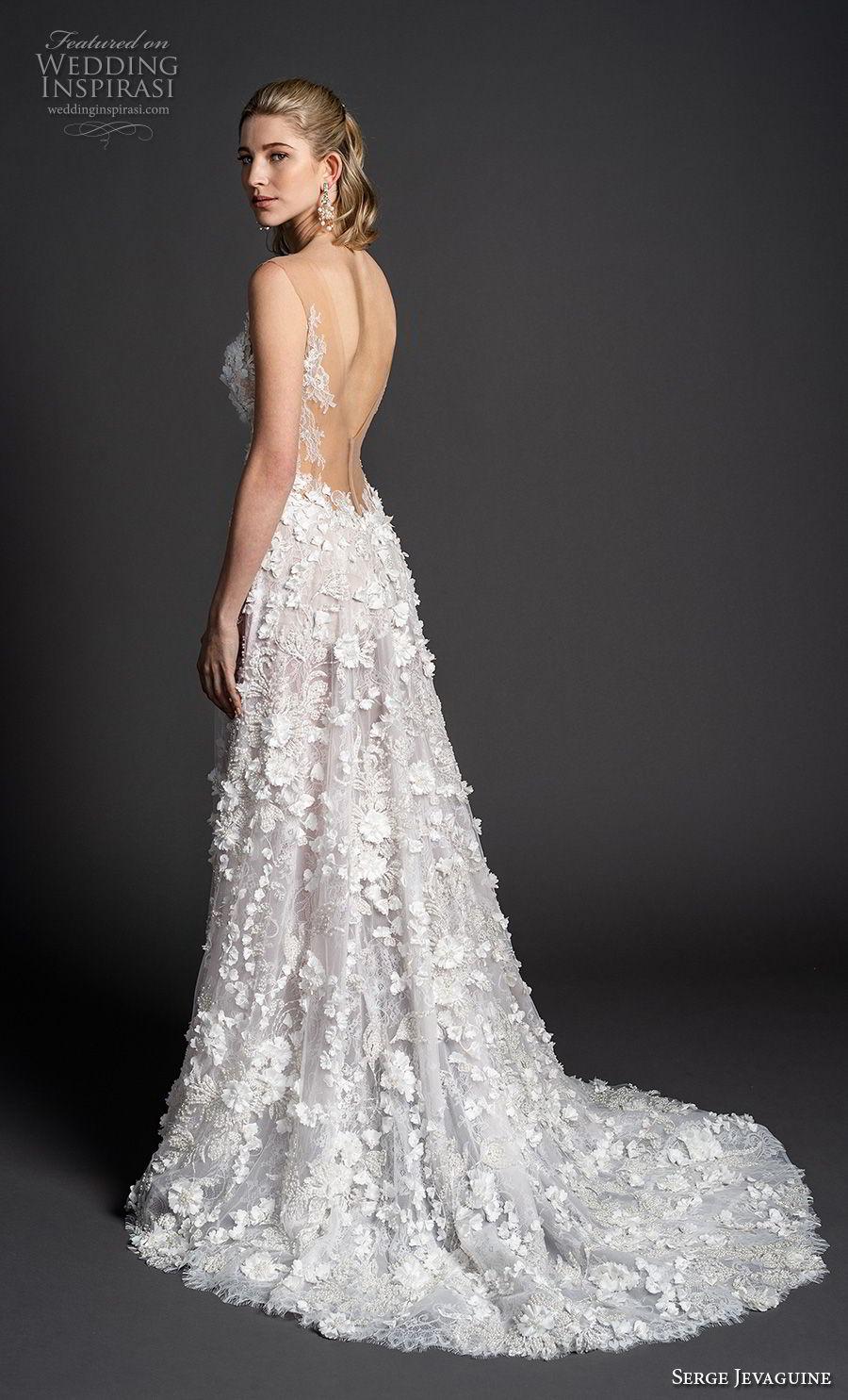 serge jevaguine 2019 bridal sleeveless illusion jewel sweetheart neckline full embellishment romantic a  line wedding dress low open back medium train (1) bv