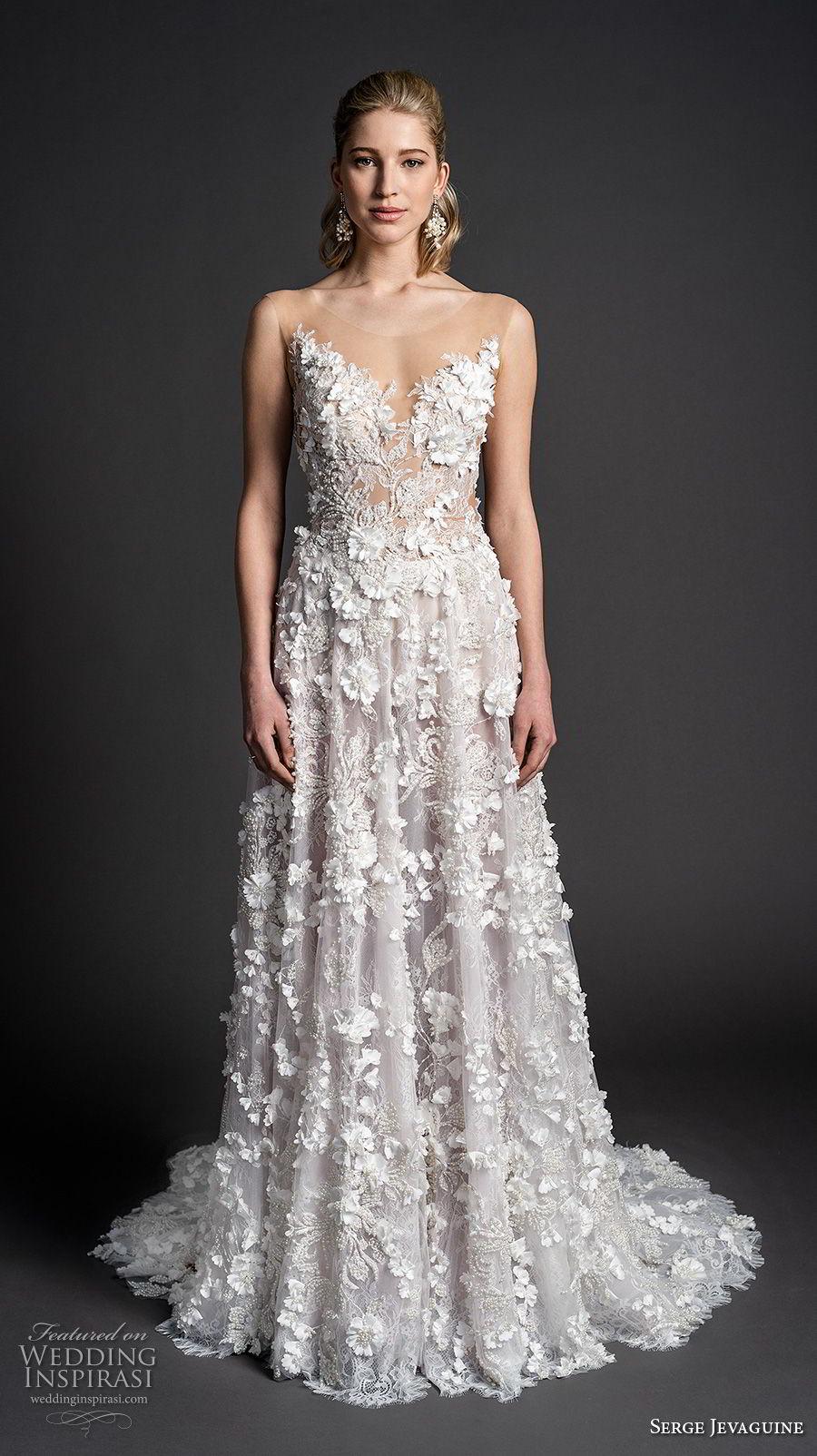 serge jevaguine 2019 bridal sleeveless illusion jewel sweetheart neckline full embellishment romantic a  line wedding dress low open back medium train (1) mv